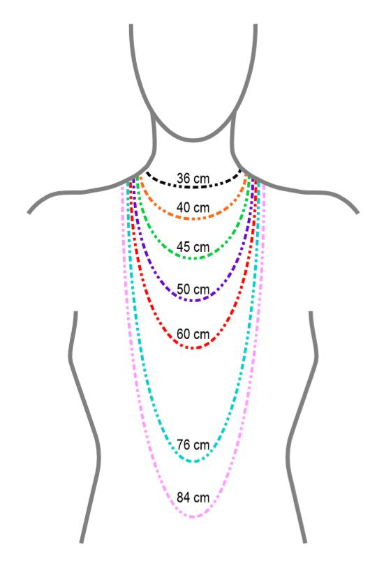 Dessin représentant les différentes longueurs de collier.