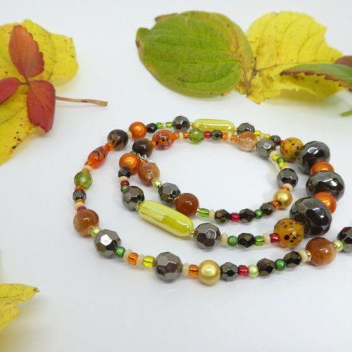 Le collier aux couleurs de l'automne entouré de feuilles.