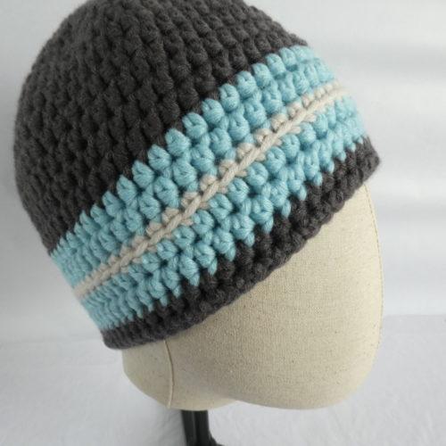 Le bonnet gris et bleu en laine Coutances.