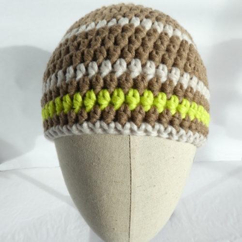 Le bonnet en laine terre et beige Honfleur.