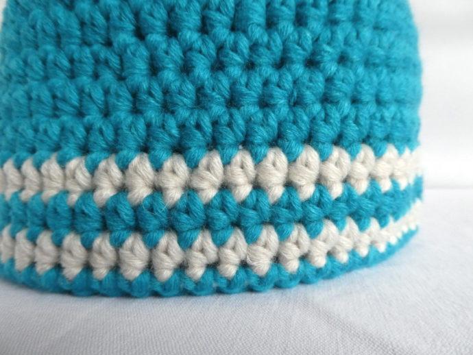 Les rayures du bonnet bleu Dieppe.