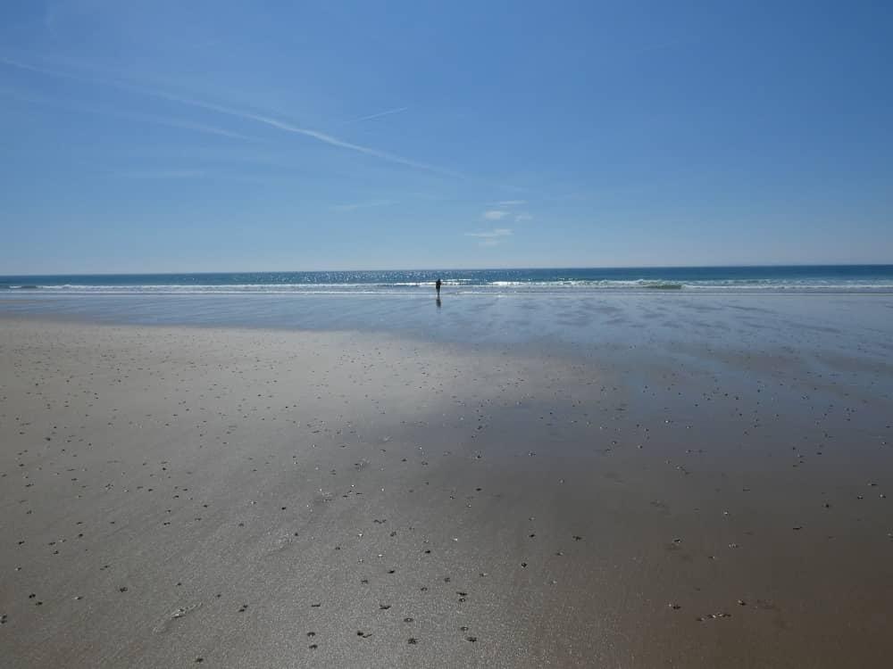 La plage de sable fin de la baie d'Ecalgrain à marée basse.